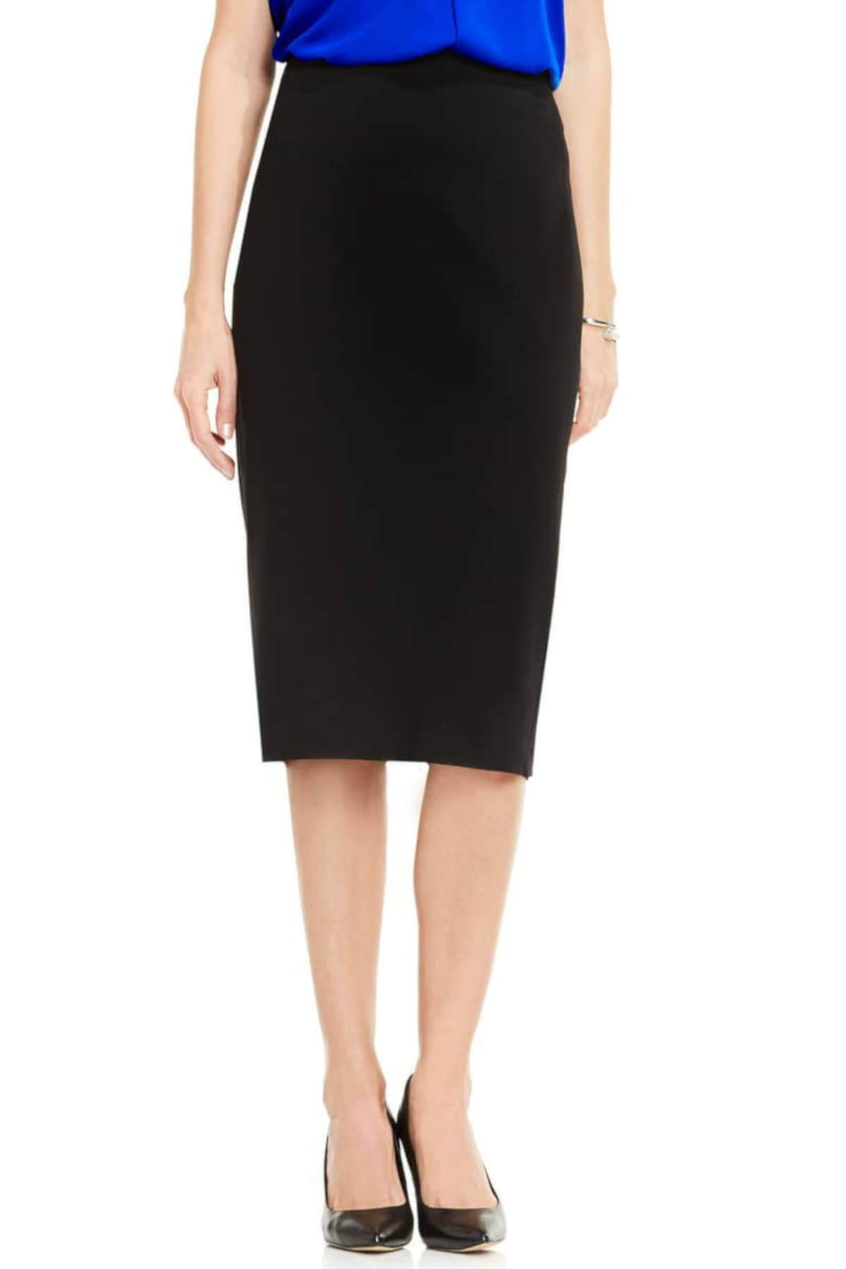 Black Vince Camuto Pull On Midi Pencil Skirts Business Casual for Women