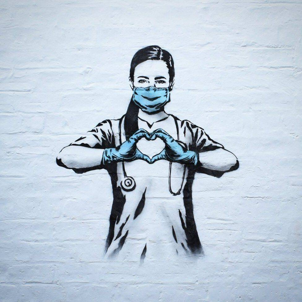 Nurse image - covid street art graffiti
