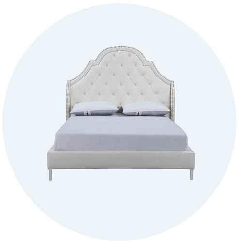 Image of beige bed frame with link to bedroom furniture