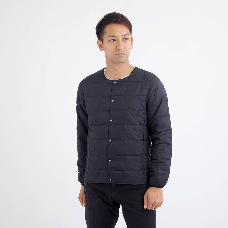 TAION(タイオン)/クルーネックボタンダウンジャケット/ブラック/MENS
