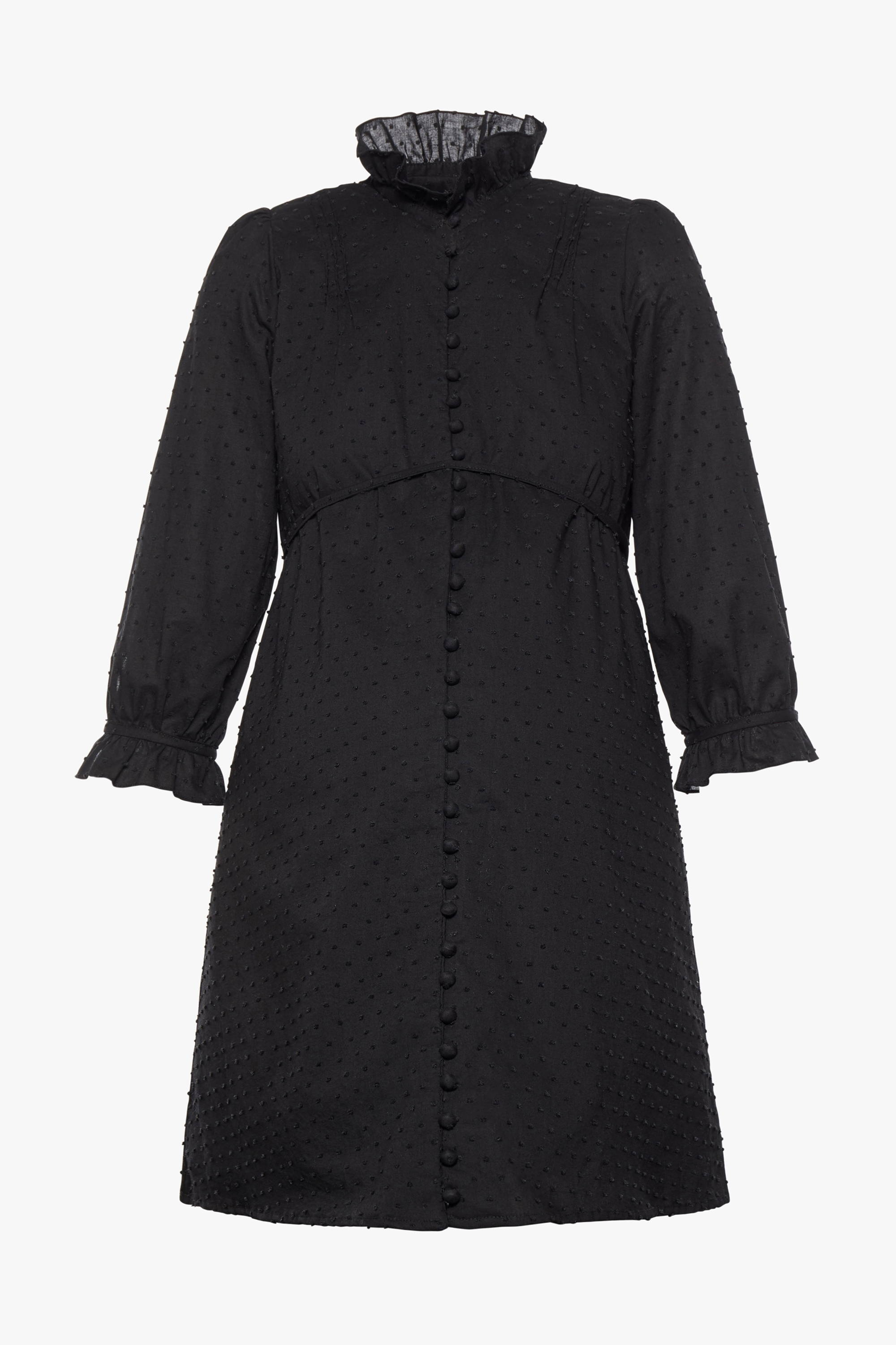 The maternity friendly Nichols dress in black dot cotton