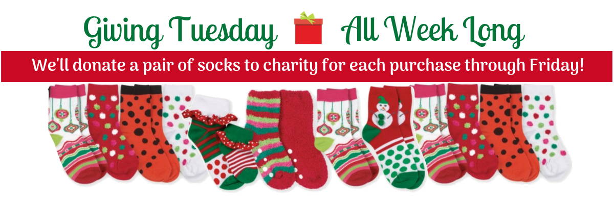 We'll donate a pair of socks to charity for each purchase from Giving Tuesday through Friday.