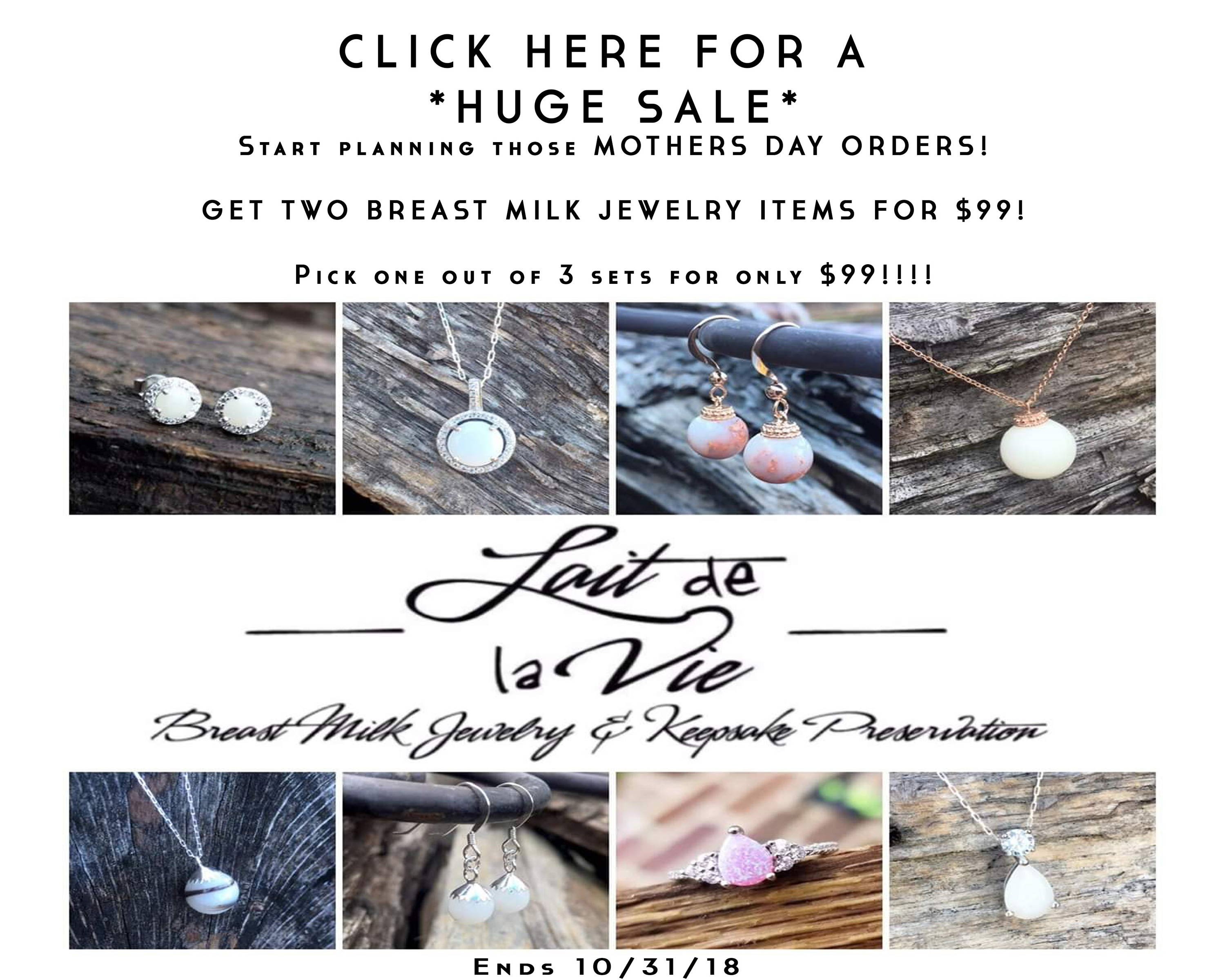 Start planning those MOTHERS DAY ORDERS!  GET TWO BREAST MILK JEWELRY ITEMS FOR $99!  Pick one out of 3 sets for only $99!!!!  (Must purchase from the listings below to receive the discounts.)
