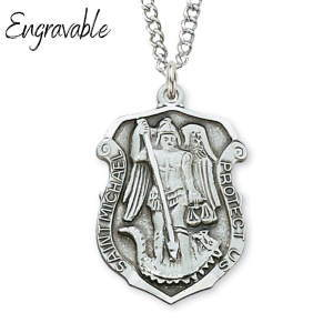 St. Michael Sterling Silver Police Badge Necklace