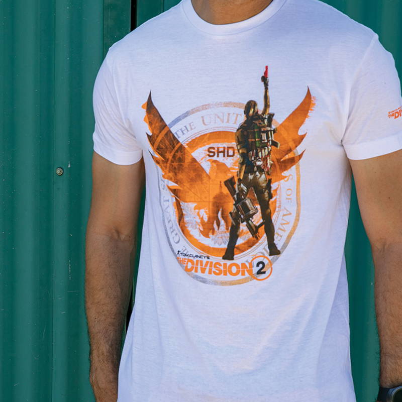 Photo of male model wearing The Division 2 shirt