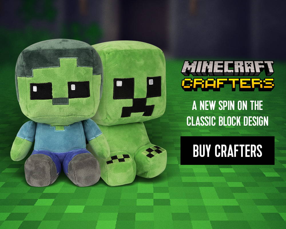 A pair of Minecraft Crafter plush toys
