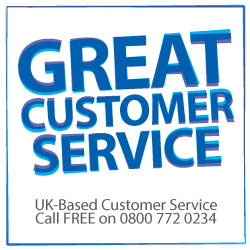 UK based customer service. Call free 0800 772 0234
