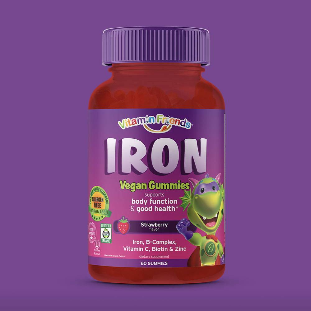 Vitamin Friends Kids Organic Vegan Iron Gummies