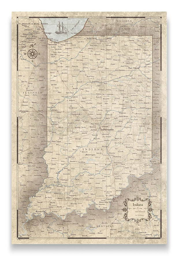 Indiana Push pin travel map rustic vintage
