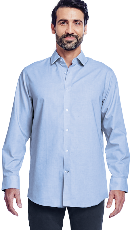 Man wearing untucked shirt
