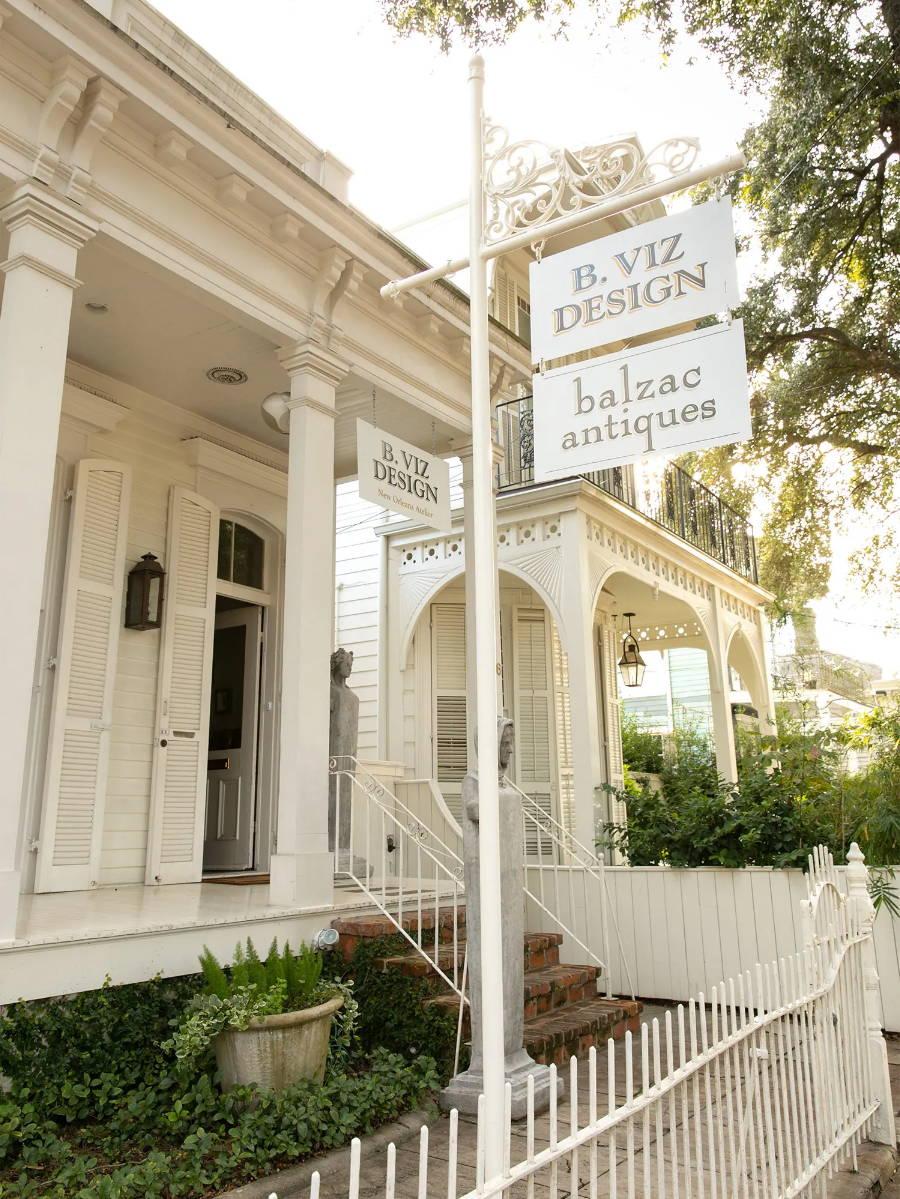 The exterior of the B. Viz Design NOLA Atelier on beautiful Magazine Street in New Orleans, LA.