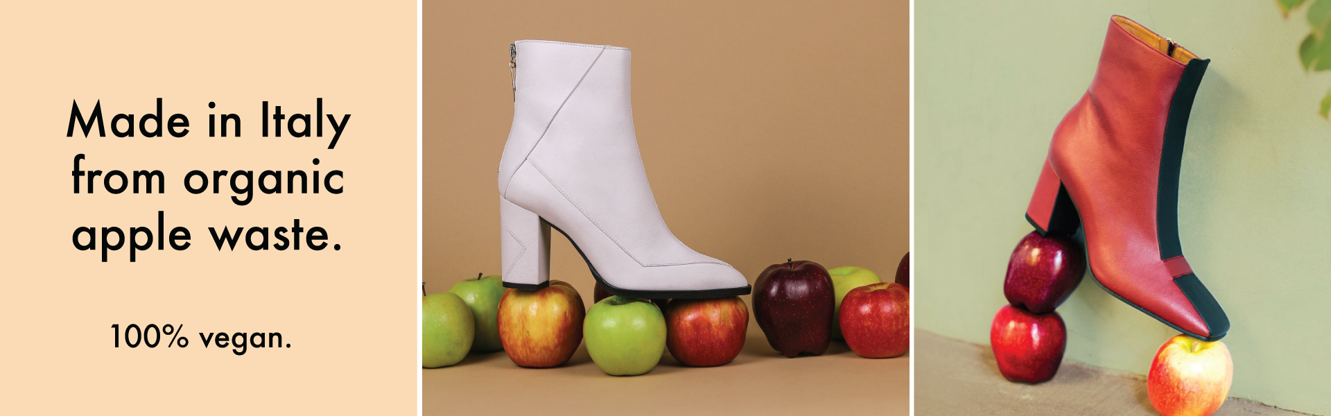 Apple leather made sustainably in Italy from organic apple waste. 100% vegan