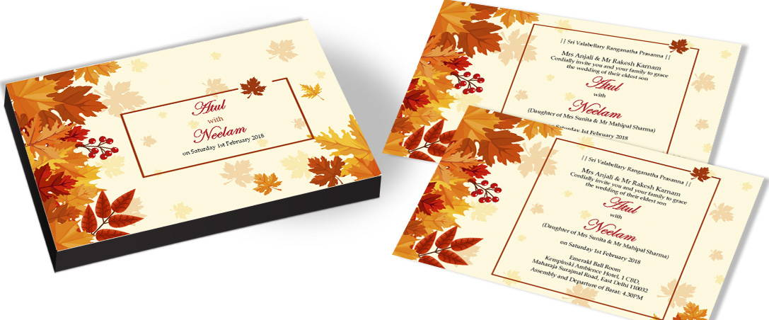 Classic Invitation card for Leaves theme Wedding
