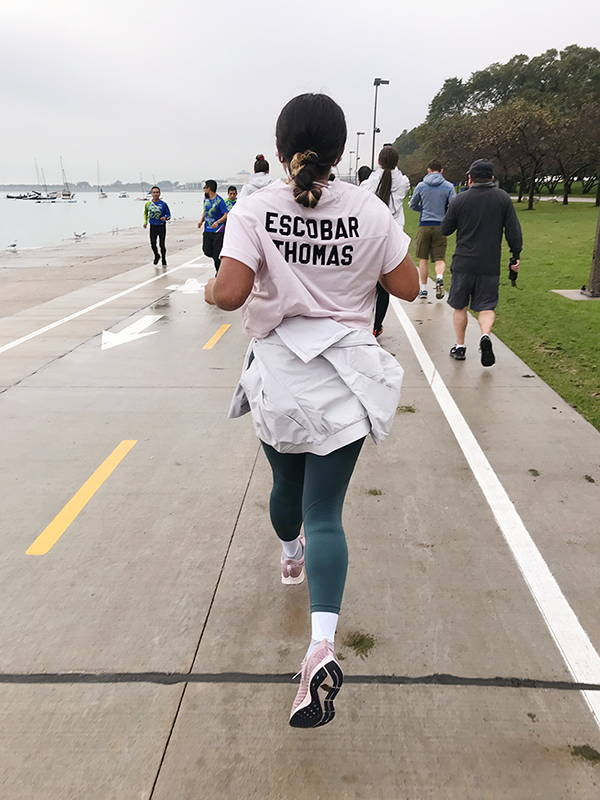Evelynn Escobar runs the Nike Women Marathon Project in Chicago.