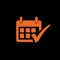 An orange icon depicting a calendar.