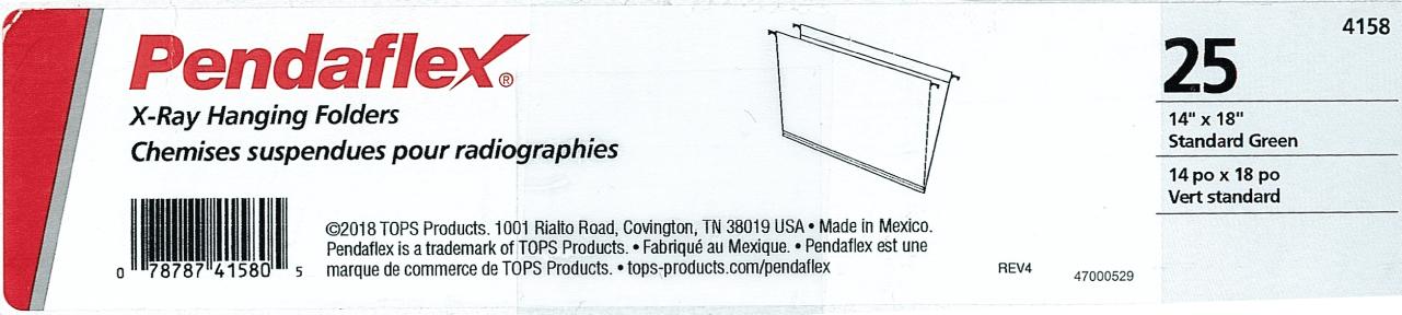 Inner Pack Labeling for hanging file folders