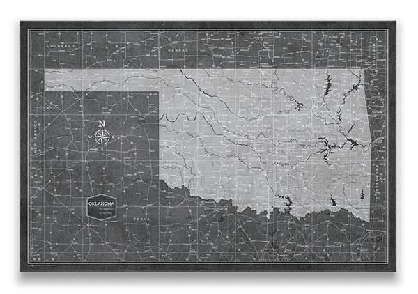Oklahoma Push pin travel map modern slate
