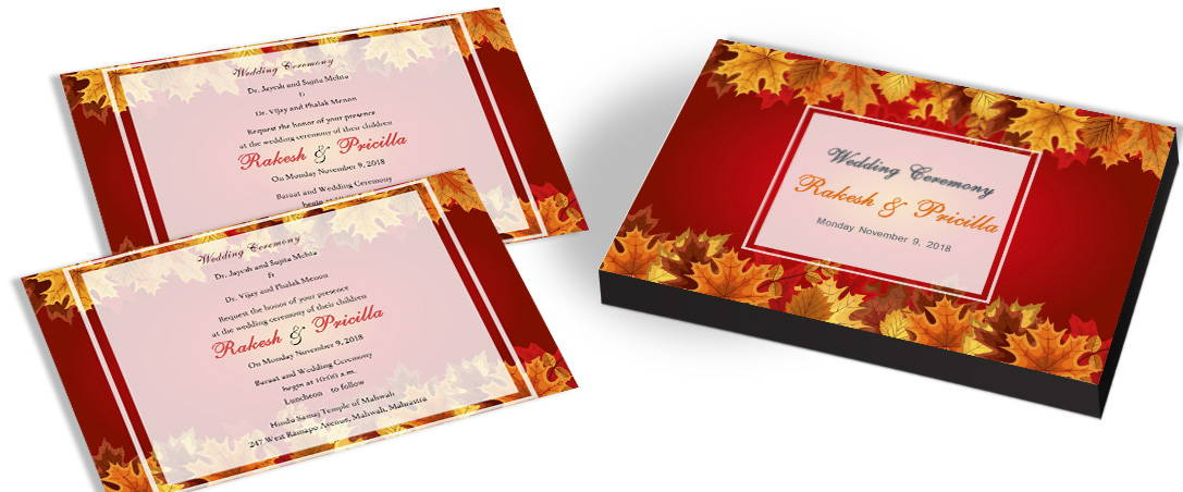 Bride & Groom picture in Leaves theme Wedding Card