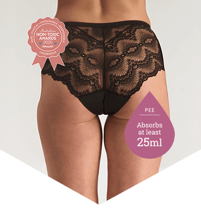 Full Brief Lace Black - Pee Panties for Light Bladder Leakage - Just'nCase by Confitex