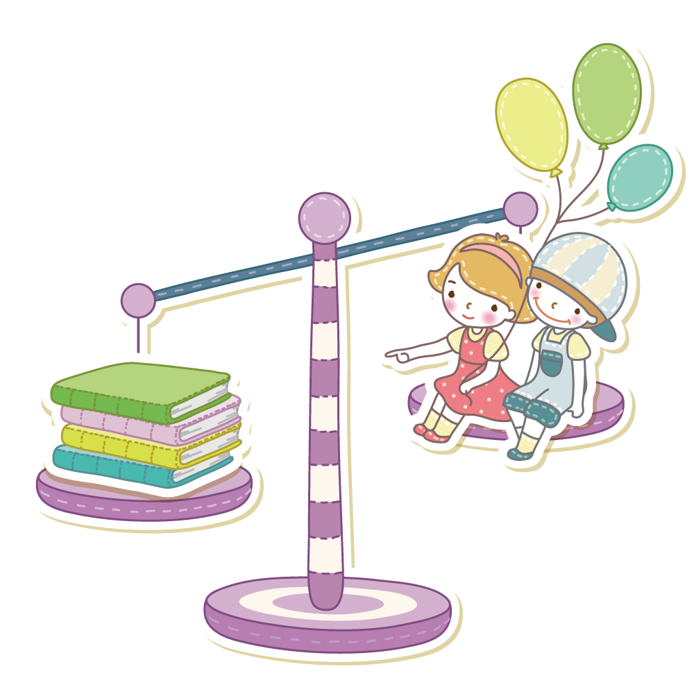 cartoon scale blance of kids balanced with books