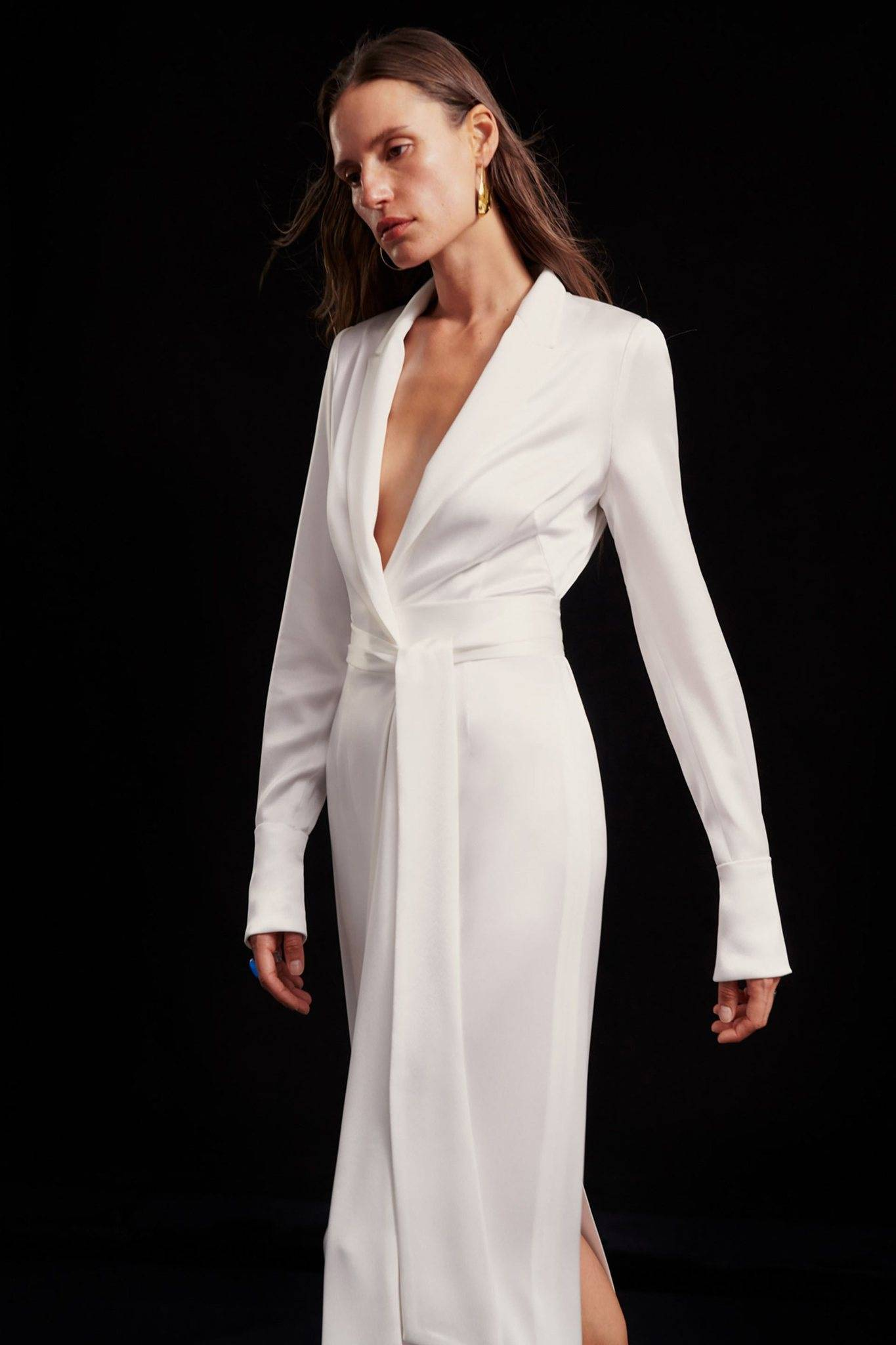 Galvan London Wrap Coat White Dress