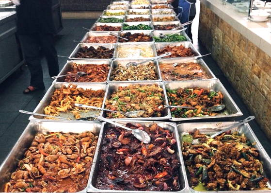 An array of Malay dishes buffet style