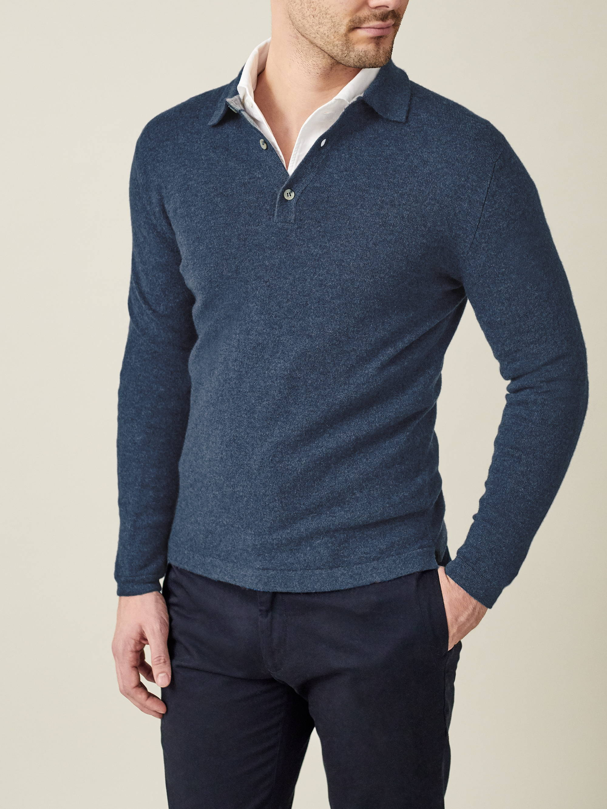 Atlantic Blue Cashmere Polo