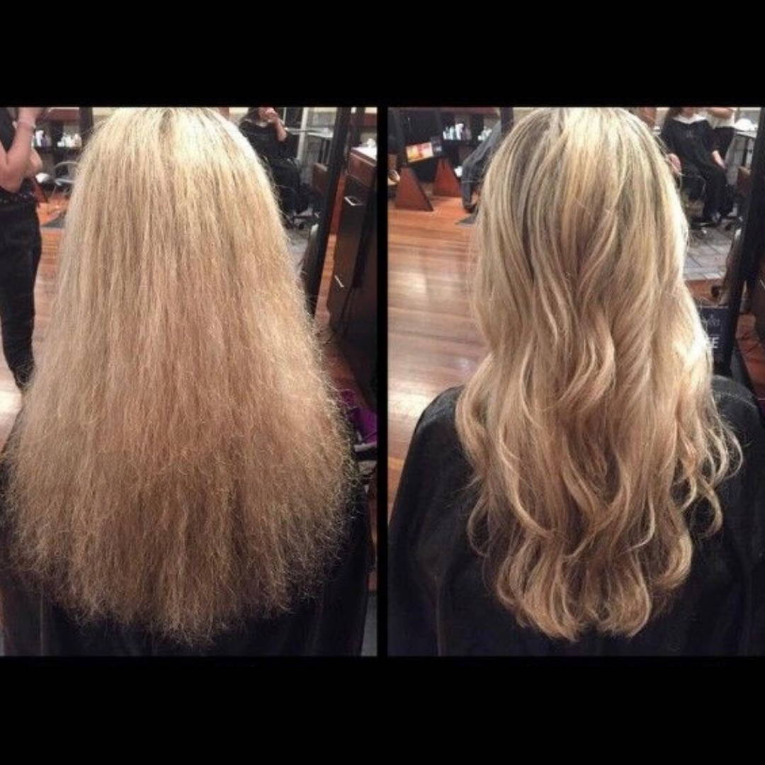 A before and after shot of blonde hair styled using the Styledryer