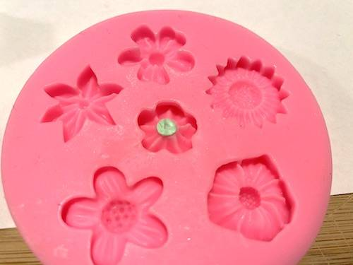 coloured centre of pressed polymer clay flower