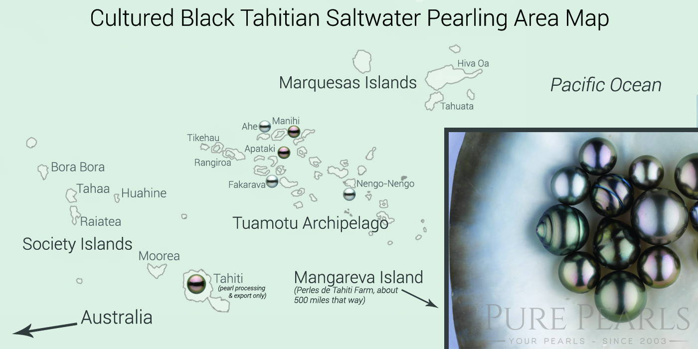 Cultured Tahitian Pearl Farming is Spread Over a Wide Area in the South Pacific Ocean