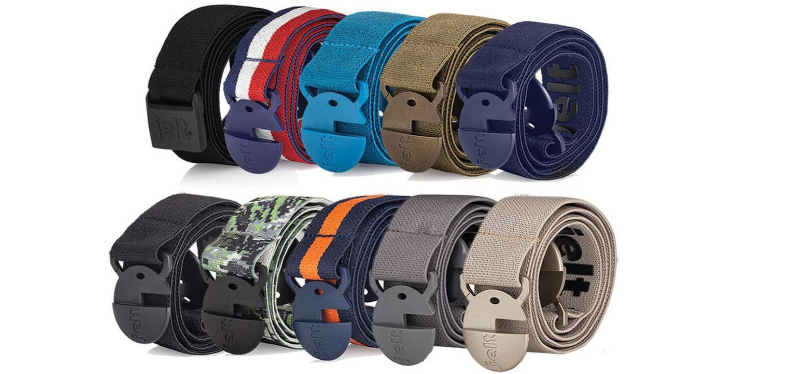Image of collection of Jelt belts: First row  featuring: JeltX Adjustable black belt, USA red, white and blue; River Turquoise; Khaki Green and Denim Navy Blue. Second row featuring colors Black Granite; Digital Camo; 80's retro orange/navy; steel grey and khaki tan