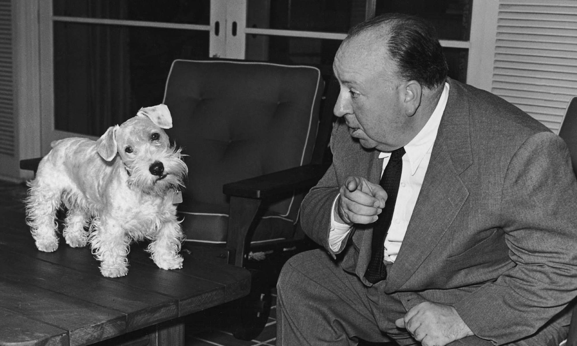 Alfred hitchcock and his dog.