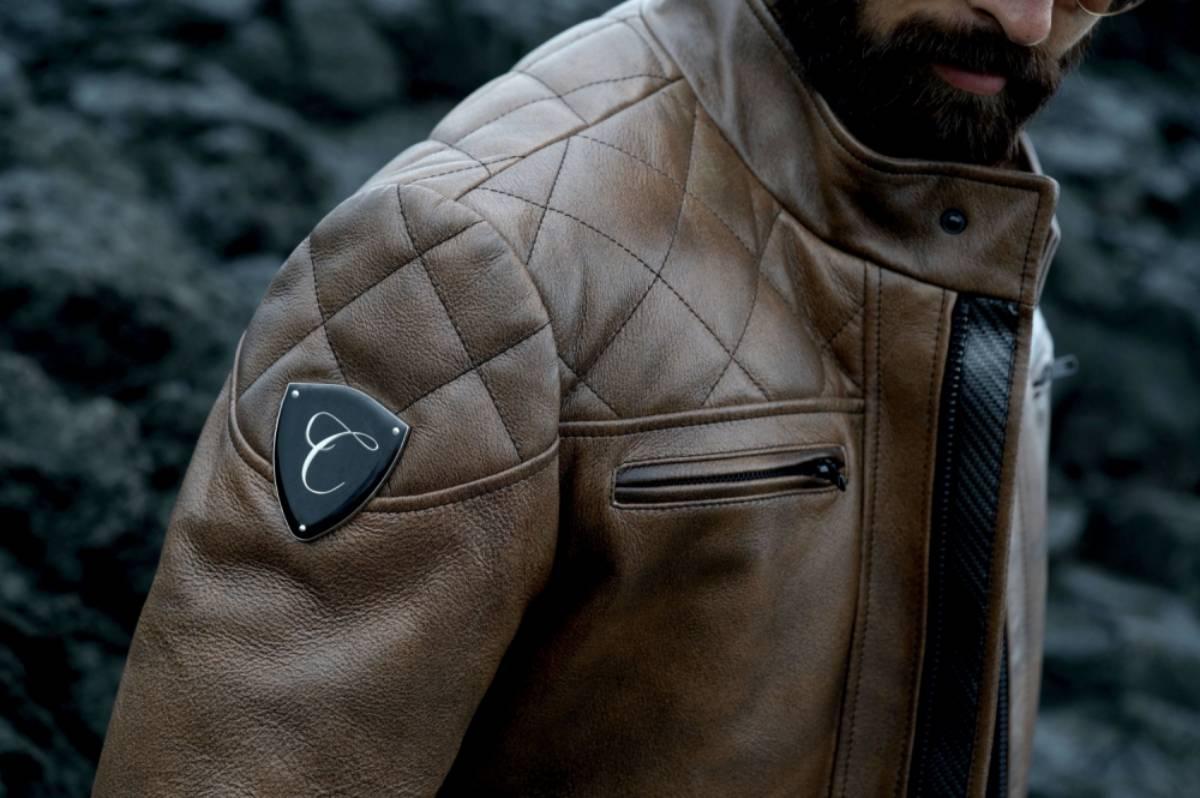 Carbonesque mens leather jacket near lava rock