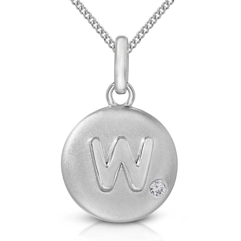 Pure at Birth letter W pendant with curb link necklace