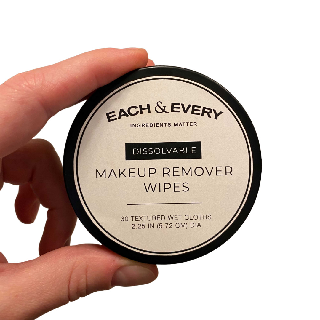 Each & Every makeup remover wipes come in a convenient canister that contains 30 total wipes