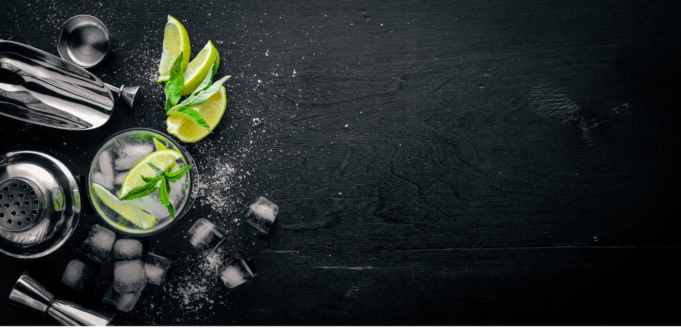 Glass of gin and cocktail making kit with quartered limes, mint and ice cubes