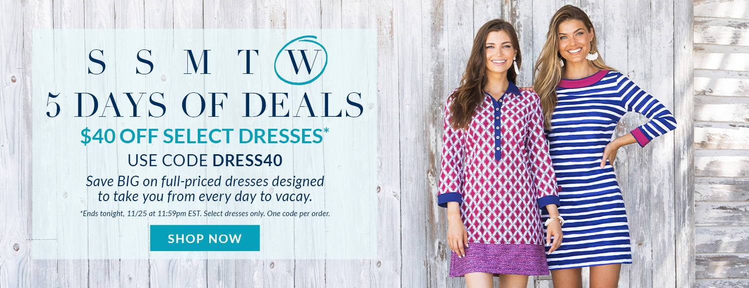 5 Days of Deals: $40 off select full-priced, bestselling dresses. Ends tonight. One code per order. Shop now!