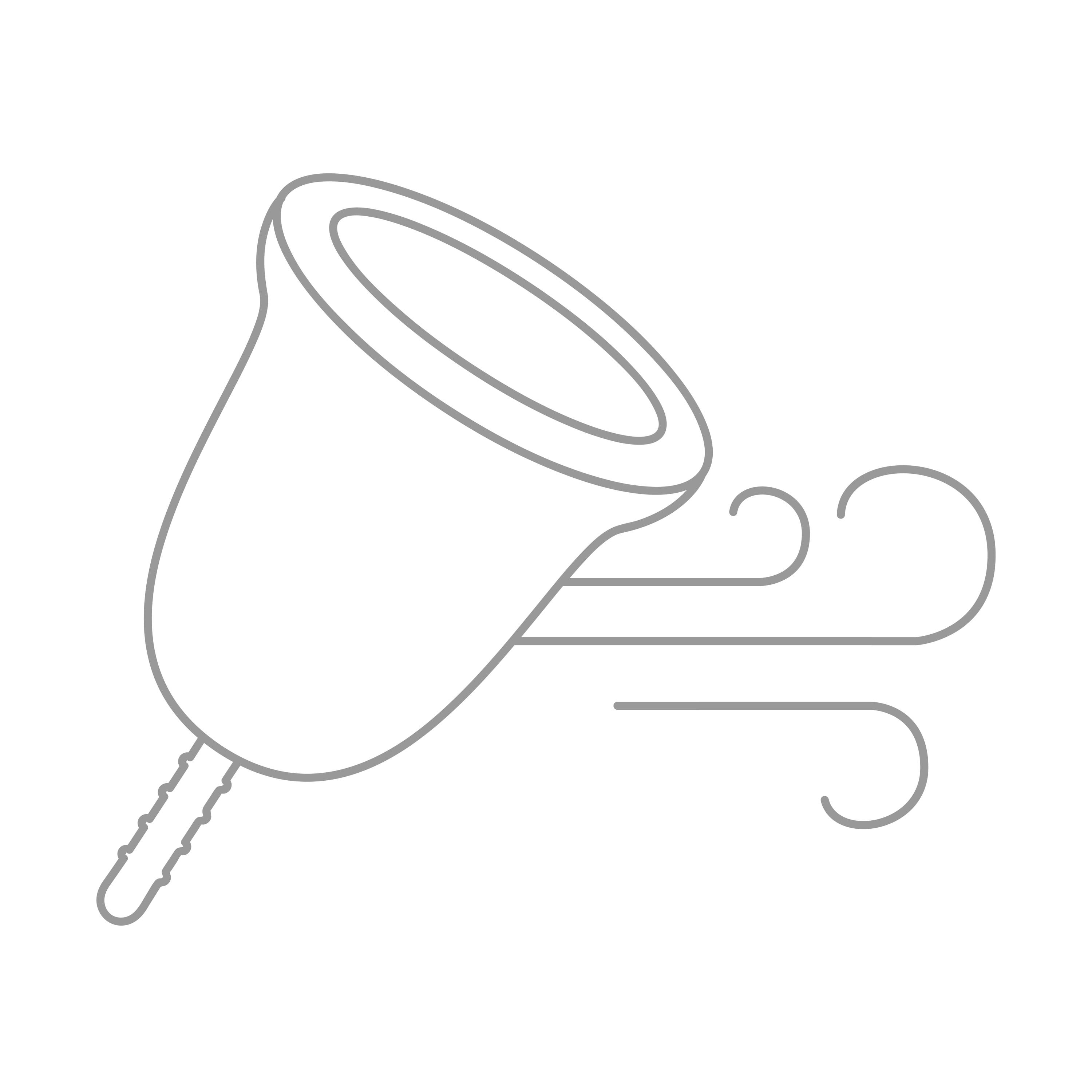 An animated menstrual cup with airstreams appearing beside it, indicating the drying after cleansing process.
