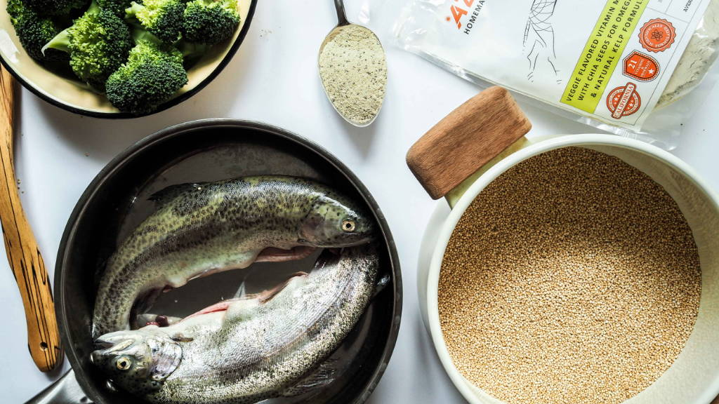 ingredients recipe homemade dog food fish quinoa broccoli