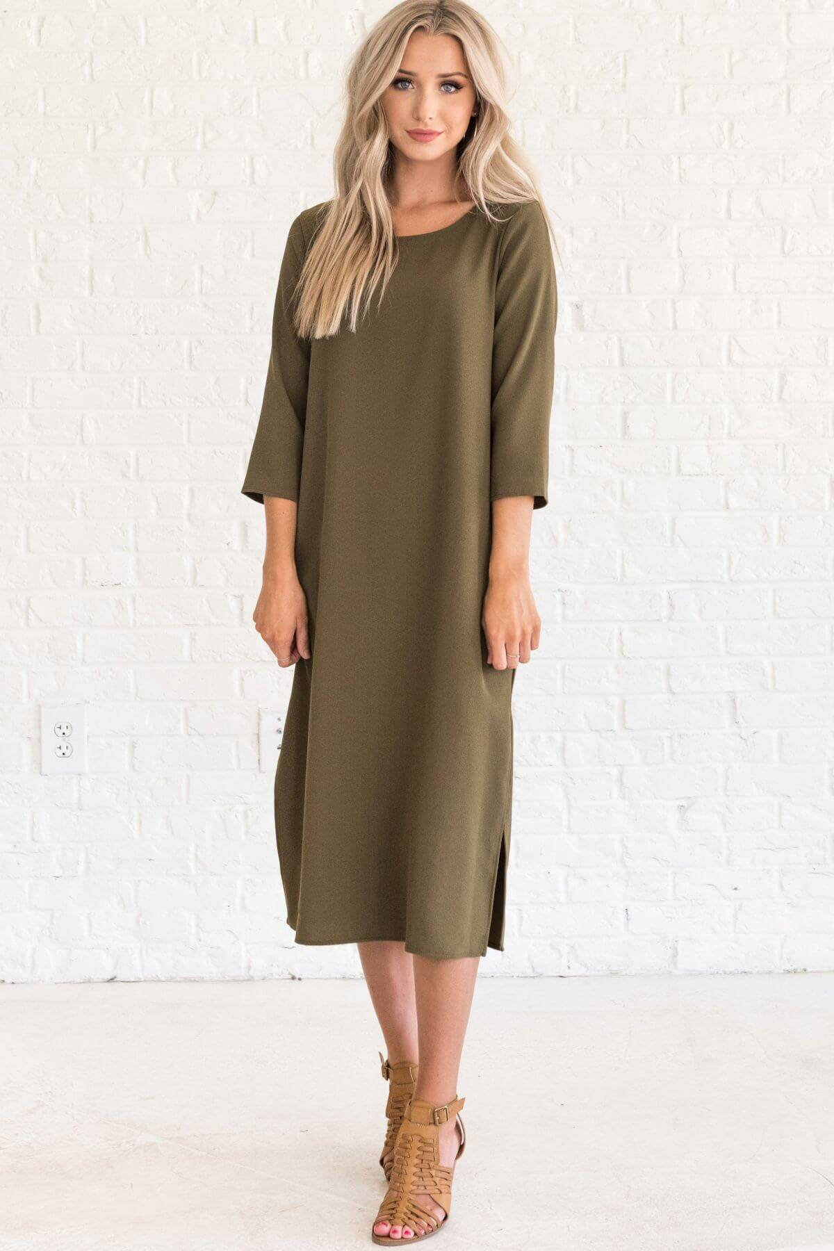 Olive Green 3/4 Sleeve Midi Dresses Business Casual for Women