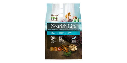 nurture pro nourish life salmon formula for indoor kitten and adult cat