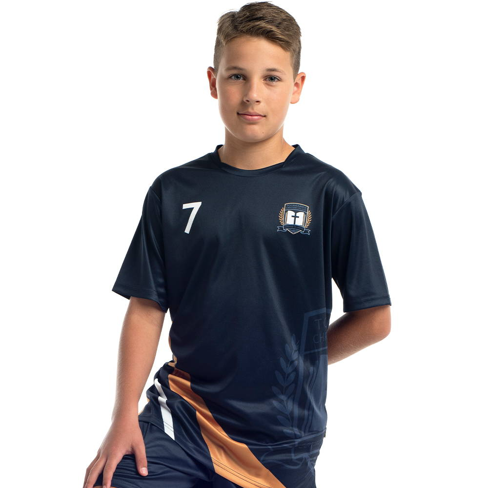 Valour Sports sublimated soccer jerseys are available in a choice of necklines and lengths for children and adults