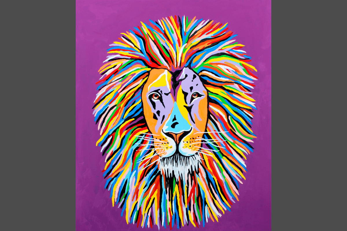 Multi-Coloured Lion Art by Steven Brown
