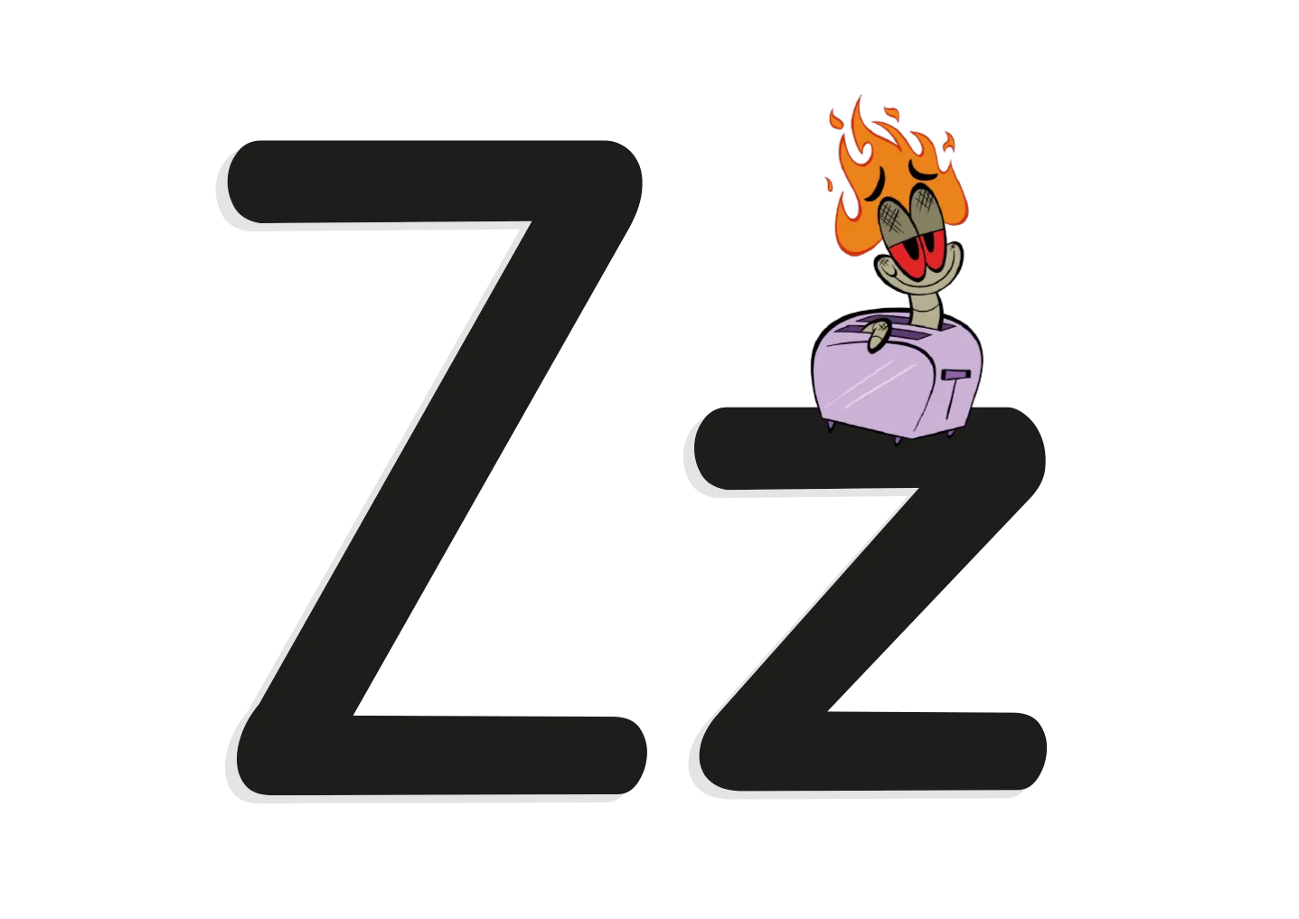 The letter Z with an illustrated worm