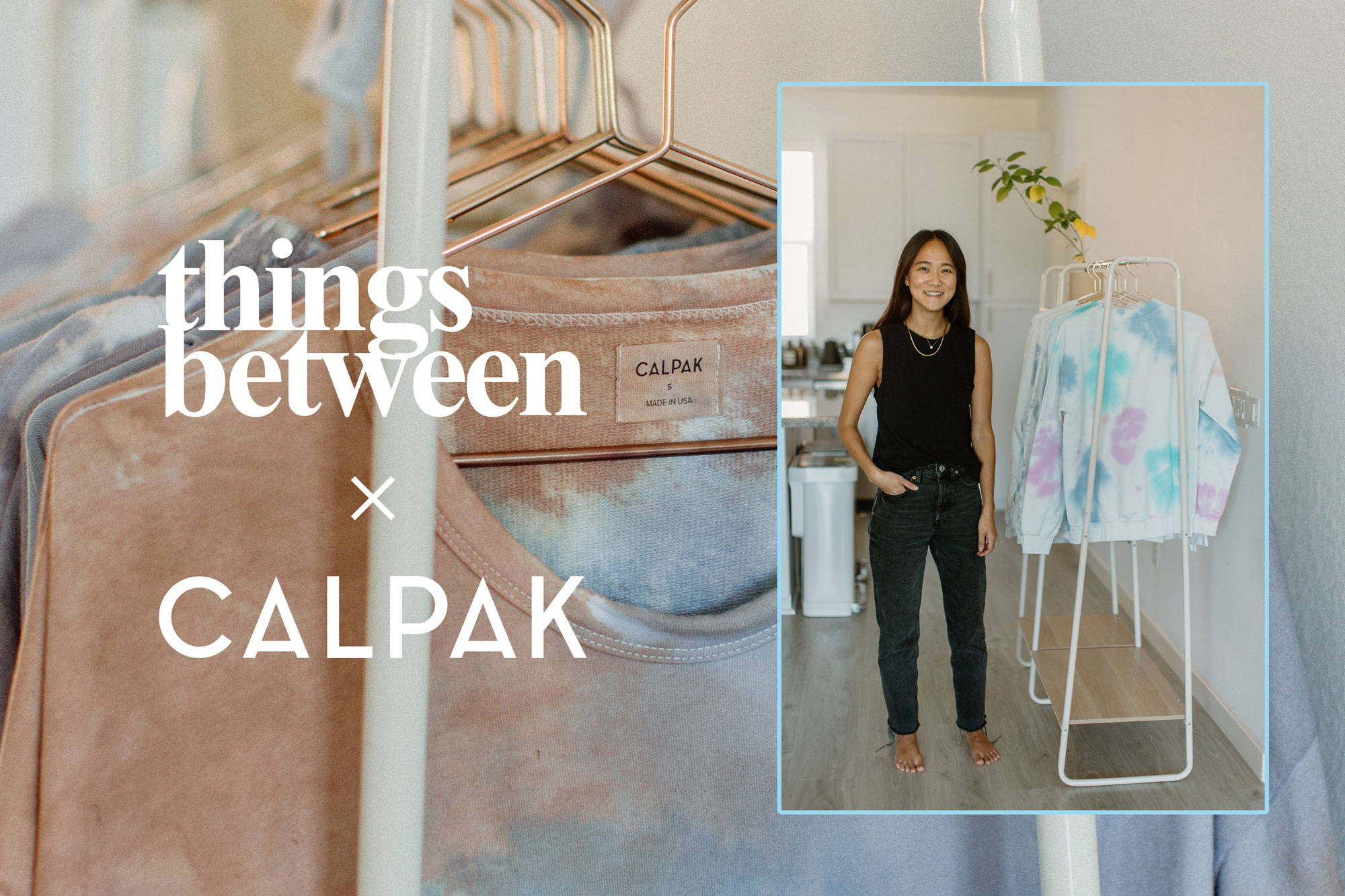 Founder of Things Between, Jessica Kim, posing with her pieces in her tie-dyeing studio.