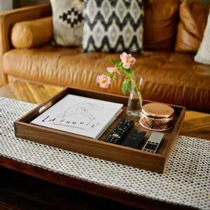 With its elegant dark rustic color, give your living room, ottoman or coffee table that added rustic touch