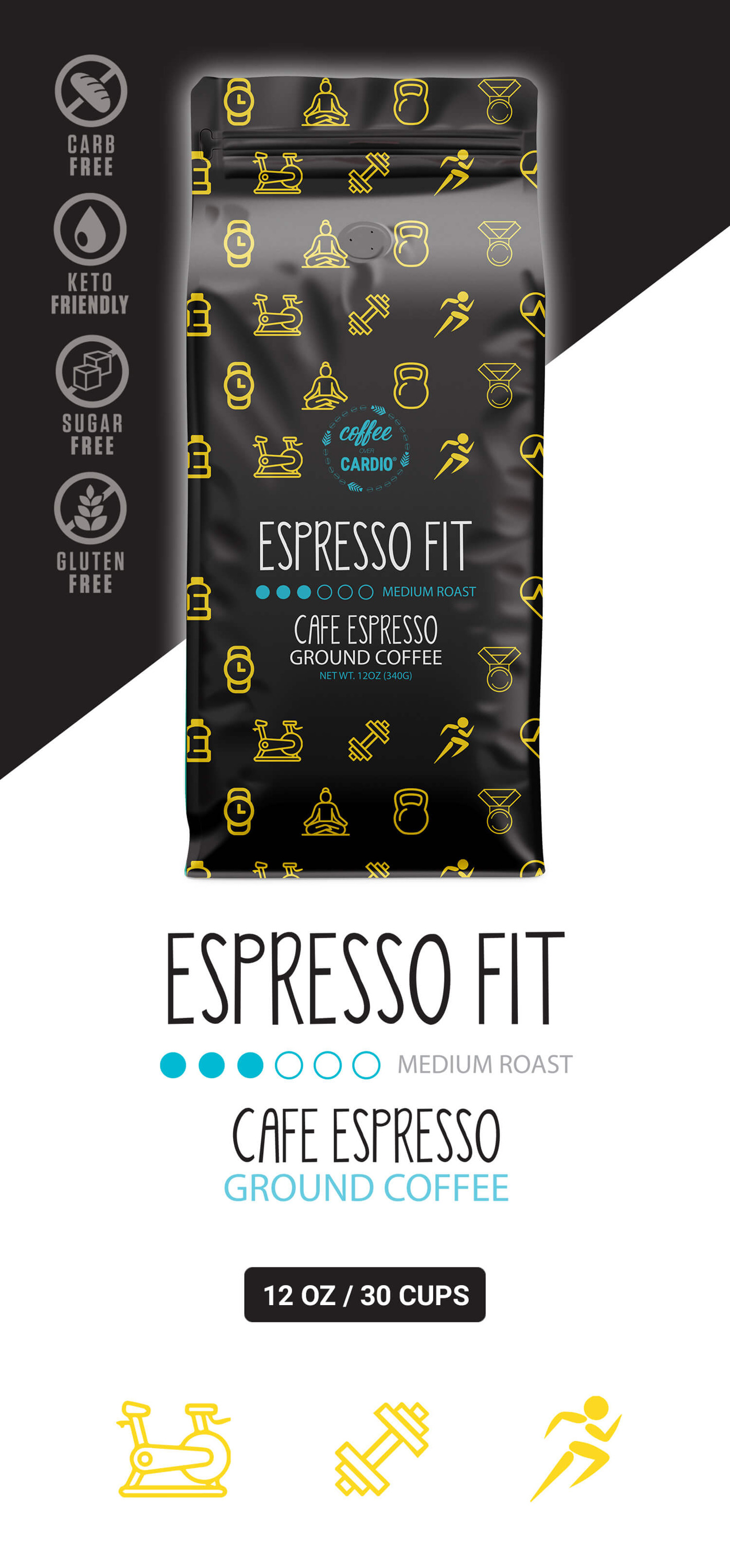 Espresso  Fit - Espresso Coffee - Ground Coffee - Medium Roast - Coffee Over Cardio®