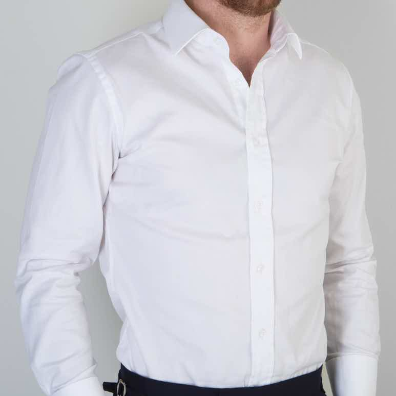 Model wearing Mullen and Mullen bespoke shirt