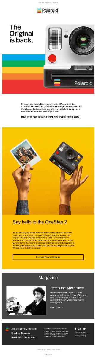 Great promotional email from Polaroid