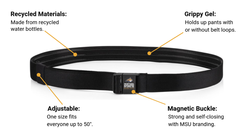 Anatomy of JeltX MSU Adjustable: Made from recycled materials, grippy inner gel to hold pants in place; magnetic buckle and adjustable function to fit up to size 50